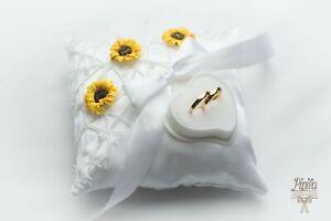 wedding anneau pillow cushion engagement ring holder p 13 sunflowers