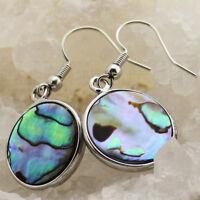 Handmade Round Cut Genuine Abalone Shell Gemstone Silver Dangle Hook Earrings
