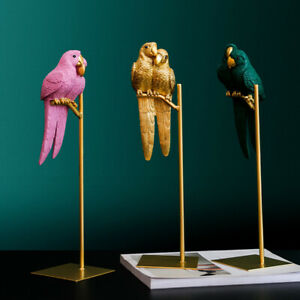 Resin Animal Parrot Bird Ornaments Statue Sculpture Figurines Cabinet Home