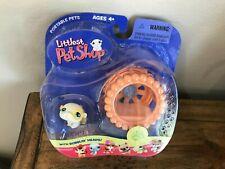 New Retired 2005 Littlest Pet Shop White & Yellow Hamster w/Exercise Wheel 137
