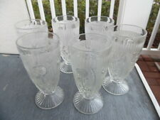 """Set of 6 Jeannette Glass Iris & Herringbone Crystal Clear 6"""" Tall Tumblers"""