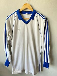VINTAGE FOOTBALL SHIRT ADIDAS MADE IN WEST GERMANY SOCCER JERSEY MAGLIA  80-s L