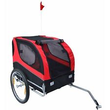 2 IN 1 Pet Dog Cat Bike Trailer Bicycle Trailer Dog Wagon Pet Carrier Red