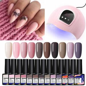 13 Bottles LEMOOC UV Gel Polish Nail Art Kit Base Top & USB Nail Dryer LED Lamp