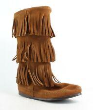 Minnetonka Womens Calf Hi 3-Layer Fringe Boot Brown Moccasin Boots Size 6