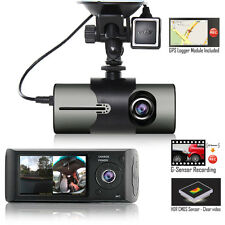 "Indigi HD Dash CAM Recorder 2.7"" LCD + Built-In GPS Tracker + Front & In-Car Len"