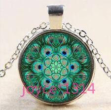 Peacock Mandala Cabochon Tibetan silver Glass Chain Pendant Necklace #3640