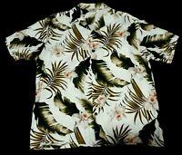 Paradise Bay Mens Large Hawaiian Aloha Shirt Made in Hawaii Floral Rayon EUC