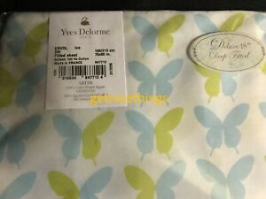 """Yves Delorme Fitted Sheet 18"""" Butterflies Lagon Blue Yellow 100% Cotton Sateen"""