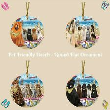 Pet Friendly Beach Round Flat Christmas Tree Ornament, Dogs, Cat, Pet Photo Gift