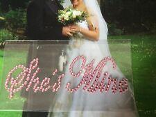 She's Mine PINK Wedding Shoe Sticker Rhinestone ITALIC Post Free