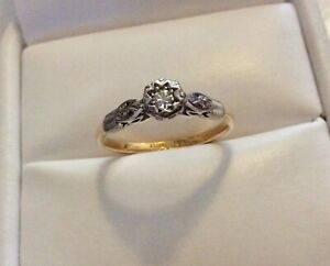 Lovely Ladies Antique 18 Carat Gold & Platinum Diamond Solitaire Ring - Size K