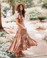Spell Designs Rosa Garden Party Dress Camel - Size L BRAND NEW