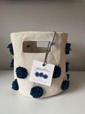 Petit Pehr Mini Cotton Canvas Basket Blue Pompon Nwt 8 X 7