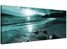 Modern Teal Canvas Pictures of a Beach Sunset Turquoise Sea Wall Art 1079
