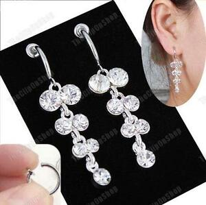 """CLIP ON 2""""long SPARKLY CRYSTAL DANGLE EARRINGS diamante SILVER PLATED hoop clips"""