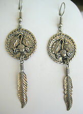 ESTATE BOLD STERLING SILVER EARRINGS FEATHER STYLE BLACK HILL BEAUTIFULL