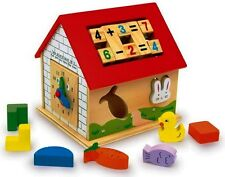 Wooden Activity Center/Cube/House.Shape sorter,Clock,Abacus,Beads.Play Kids Toy.