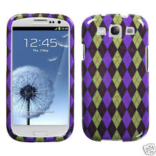 SAMSUNG GALAXY S III 3 SNAP-ON CASE HARD COVER ACCESSORY PURPLE PLAIDS