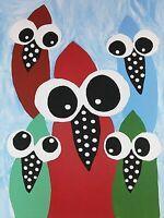 "new! original painting ACEO signed folk art ""Curious Birds"""