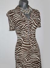 Karen Millen Brown/Ivory Ruffle Low V-Neck Cap Sleeve A-Line Style Dress UK8 36