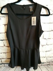 NEW Teenage Runaway Sz Small Black Peplum Top blouse Keyhole  Hot Top Sleeveless