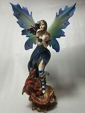 "Large 15"" High Blue Winged Fairy with Red/Gold Baby Dragon Statue Figurine"