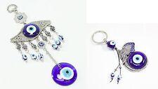 Set of 2 Blue Evil Eye Elephant Head Keychain Blessing Hang Amulets Protection