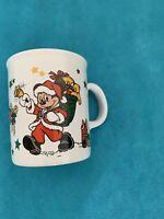 "Euro Disney Mickey Santa Christmas Mug Vintage 4"" Tall Tams Made In England"