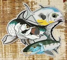 "GRAND SLAM sticker decal Permit Tarpon Bonefish saltwater fly fishing 4 1/2"" x 4"