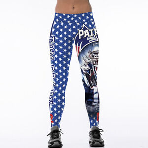 New England Patriots Women Legging 3D Digital Print High Waist Wide Belt Pants