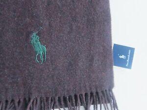 New Polo Ralph Lauren Big Pony 100% Lambswool Burgundy Scarf Muffler Italy Made