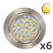 6 x 12V Recessed LED Caravan Motorhome Boat Spot Lights Downlights - Warm White