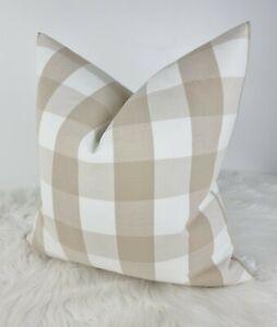 "16x16"" Nautical Mimi Check Tartan style Cushion Cover, Designer Harlequin Beige"