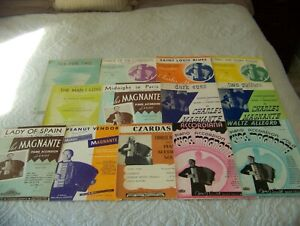 Vintage Lot 12 Piano Accordion Chas. Charles Magnante Sheet Music Lady of Spain