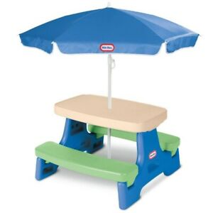 Little Tikes Jr. Picnic Table with Umbrella, Blue & Green - Play Table Outdoor