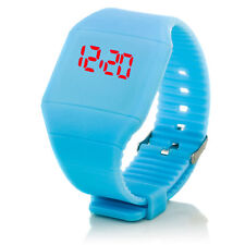 Digital Silikon LED Armband Uhr Armbanduhr Watch Herren Damen Kinder Hellblau