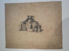 Mid-late 19thC drawing still life flagon and basket