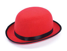 Red Bowler Hat Fancy Dress Costume Accessory Circus Clown Halloween Headwear New