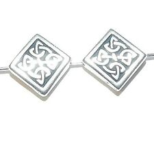 MB738f Celtic Flat Square Diamond Antiqued Silver Finished Pewter 13mm Beads