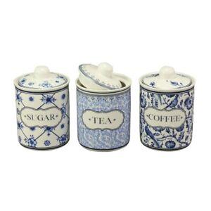 Vorratsdose Delft Style Tee Kaffee Zucker Porzellan blau weiss, 3 Modelle