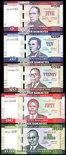 LIBERIA 5 PCS SET 5 10 20 50 100 DOLLARS 2016 UNC P-NEW SAME LAST 2 SERIAL MATCH