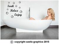 Soak Relax Enjoy + 45 Bubbles Art Sticker Decal Transfer for Bathroom Wall Tiles