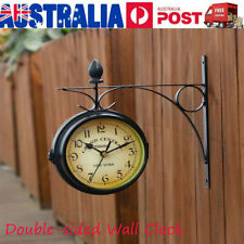 Wall Mount Station Clock Double Sided Round Garden Vintage Retro Home Decor AU