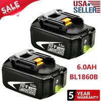 FOR Makita 18V BL1860B 6.0Ah Lithium Ion Battery 2 Pack BL1840B BL1850B BL1860-2