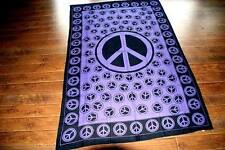 Purple PEACE SIGN Hippie Boho Bohemian India Teen TAPESTRY Bedspread Throw