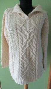 LAUREN Ralph Lauren HAND KNIT Ivory SERPENT CABLE  Tunic 100% WOOL Sweater P S