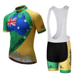 Australia Cycling Team Clothes Men's Reflective Bike Jersey and (Bib) Shorts Set