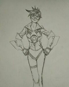 Tracer From Overwatch ORIGINAL Pencil Sketch