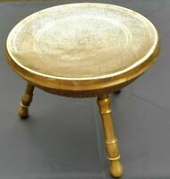 Brass Foot Stool Warmer Decorative Floral Design Turkish Moroccan Indian Vintage